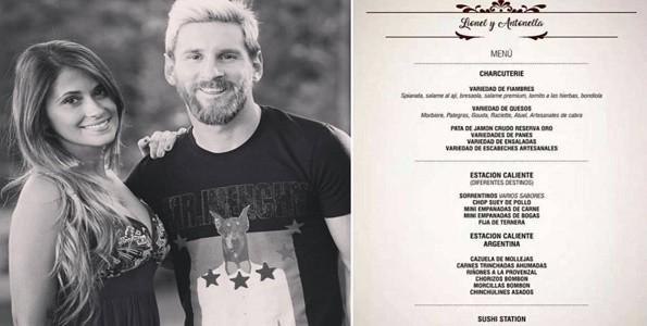 El menú de la boda de Messi