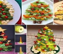 Decoración comestible en la mesa de navidad